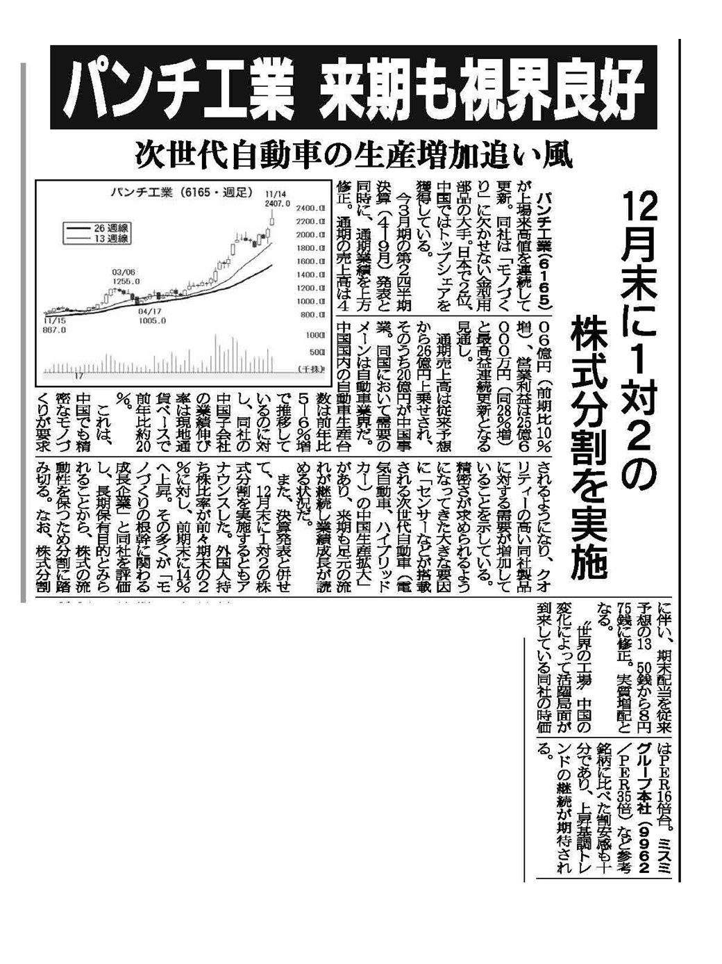 http://www.punch.co.jp/companyinfo/company2015/20171115-shokenshinbun.JPG